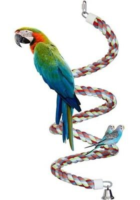 Parrot Perch Bird Perch Toy Extra Large (83 Inch) Rainbow Rope with Bell