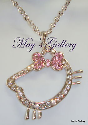 """Hello Kitty Pendant and  Necklace Crystal 27"""" Long NIB Charms Charm Bling Bling"""