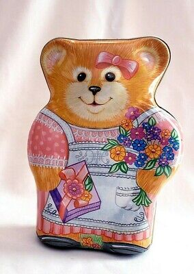 Vintage Mother Teddy Bear Tin Container Pink with Apron Gay Giannini