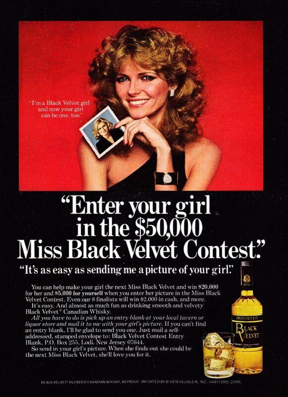 1978 Supermodel Cheryl Tiegs photo Black Velvet Whisky