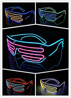 EL Wire LED Glow Light Glasses Black Frame Neon Shutter Dance Party club Disco  - Neon Dance Decorations