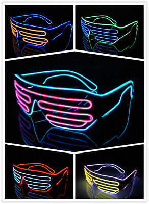 Glow LED Glasses Light Up Shades Flashing Rave Festival Party Neon EL Wire - Party Supply Cheap