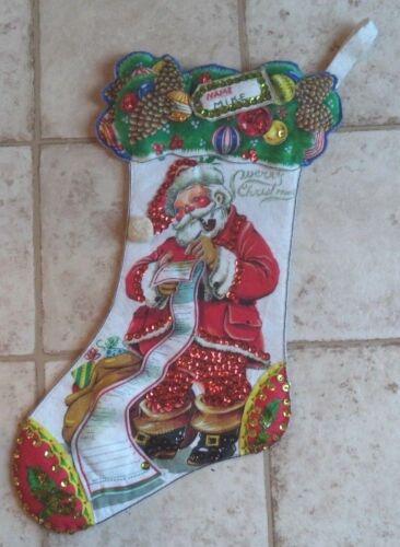 """Vintage Christmas Stocking Felt & Sequins Handmade Santa Claus List """"MIKE"""""""