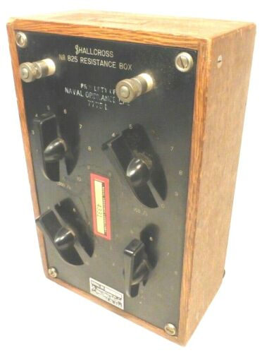 Military SHALLCROSS RESISTANCE BOX #825  Tested / Working  1 OHM to 1,000 OHMS