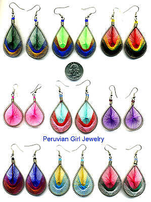 10 PAIRS SILK WOVEN THREAD EARRINGS PERU JEWELRY LOT NR ()
