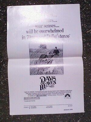 "Original Movie Ad Campaign Slicks. ""Days Of Heaven"" 1979. Richard Gere."