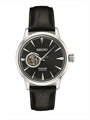 - New Seiko Presage Automatic Sunray Dial Black Leather Strap Mens Watch SSA359
