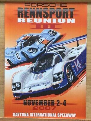 "Original Porsche Daytona Vintage Racing Sign Poster 34x23"" Rare Car Garage"