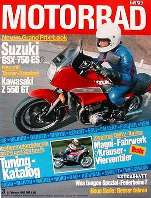 Motorrad 3/1983: Suzuki GSX 750 ES, Kawasaki Z 550 GT, Honda Lead, Triumph TSX