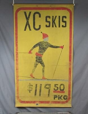 Vintage Cross Country XC Skis Store Display Sign Painted Canvas Skiing Folk Art