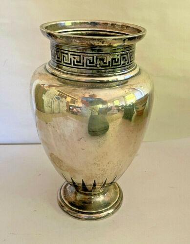 """Art Deco 10"""" Gorham Sterling Silver Black Enamel Vase Urn Greek Key Design 1030g"""