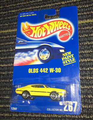 HOT WHEELS 1991 OLDS 442 W 30 YELLOW NEW PAINT STYLE # 267