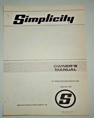 Simplicity 42 No. 1010 Snow Plow Dozer Blade Owners Parts Manual Original