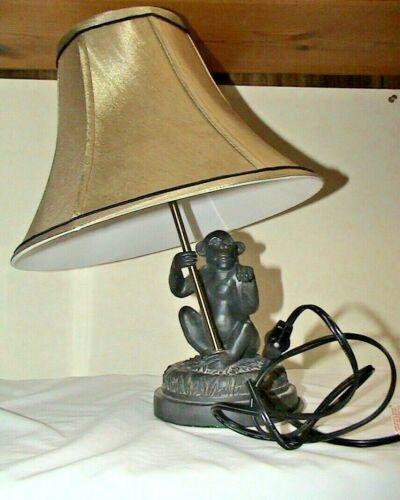 VINTAGE MONKEY LAMP DARK BRASS FINISH - MONKEY HOLDING AN UMBRELLA