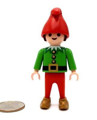 Playmobil Elf Figure Boy Gold Turned Up Shoes Hat Green Shirt Santa Cute! P39