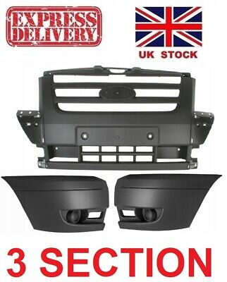 FORD TRANSIT MK7 (2006 - 2014)  GREY FRONT BUMPER COMPLETE 3 PIECES SET NEW