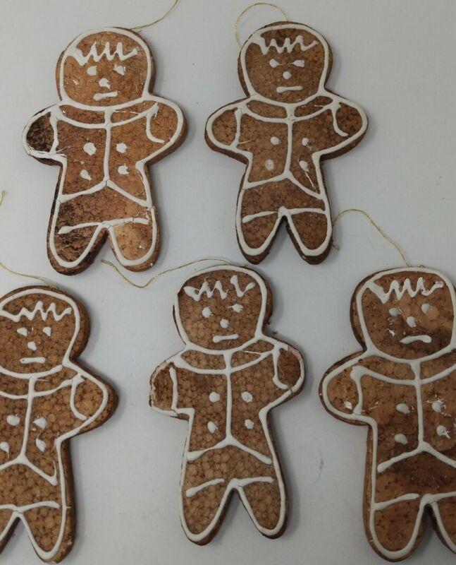 "10 Vtg 50s 60s Brown Foam 5"" GINGERBREAD Men Ornaments Japan"