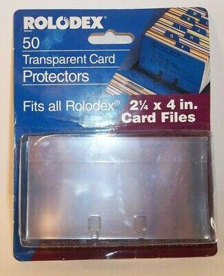 New Vintage Rolodex 50 Transparent Card Protectors 2 14 X 4 Card Files Tpb24