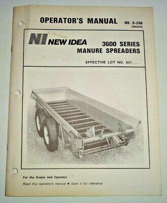 New Idea 3600 Series Manure Spreader Operators Owners Manual Original S-336