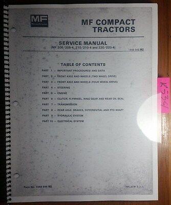 Massey Ferguson Mf 205 205-4 210 210-4 220 220-4 Compact Tractor Service Manual