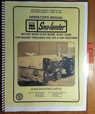 Mckee Sno-lander 222m 322m Rotary Snow Plow Massey Ferguson 205 210 220 Manual