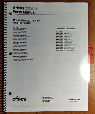 Ariens 901000 901011 901012 901013 901015 5 7 8 Hp Rear Tine Tiller Parts Manual