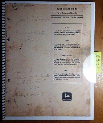 John Deere 50 51 Backhoe Parts Catalog Manual Pc-619 971