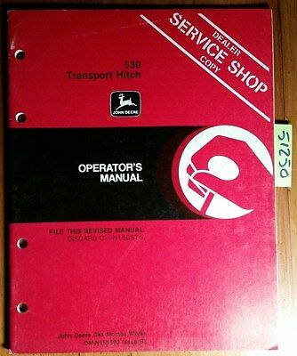 John Deere 530 Grain Drill Transport Hitch Sn -601 Owner Operator Manual B3 83
