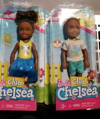 New Barbie Chelsea Club dolls Lot of 2 African American Boy Girl  MATTEL HTF