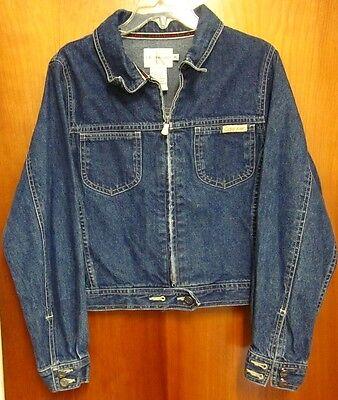 CALVIN KLEIN vtg juniors XL jean-jacket classic CK logo coat NYC fashion 1990s