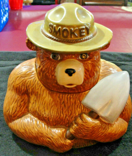 RARE 2001 Smokey Bear Hand Crafted & Painted Clay Art Collectible Cookie Jar