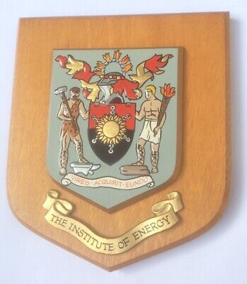 VINTAGE HAND PAINTED HERALDIC WALL PLAQUE SHIELD - THE INSTITUTE OF ENERGY