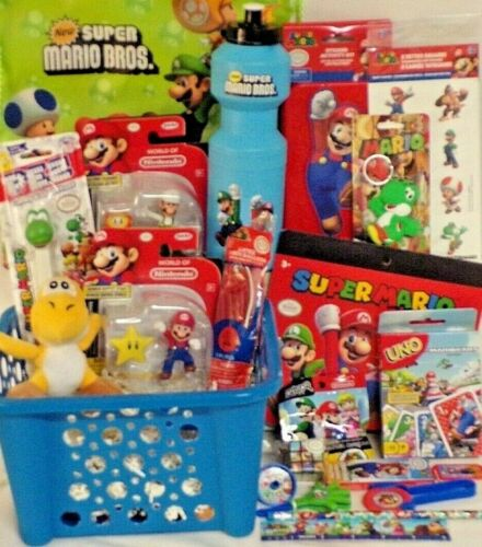 NEW MARIO EASTER TOY GIFT BASKET FIGURE PLAY SET BIRTHDAY TOYS EGG HUNT