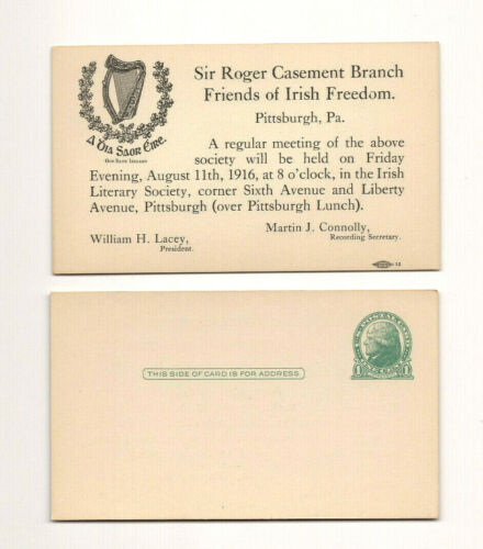 1916 Friends of Irish Freedom Meeting Postcard, Pittsburgh, PA
