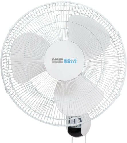 "SONIC BREE 16 "" Wall Mount Oscillating Fan W/80 Degree Oscillation 3 Speed Set"