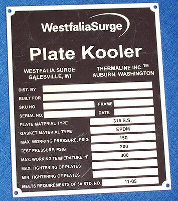 Nos Stainless Steel Id Data Plate Westfalia Surge Plate Kooler Tag Dairy Milker