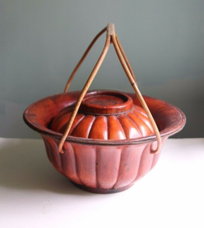 Antique Chinese Bamboo Hat Basket with Gourd Painting on Lid