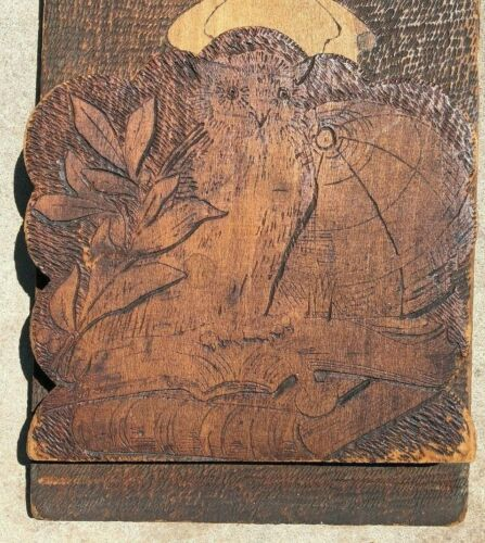 Vintage Owl & Globe Folding Wood Pyrography Book Holder