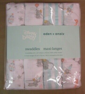 "New Aden+Anais 4-Pack Cotton Muslin Swaddles Disney Dumbo New Heights 44""x44"""