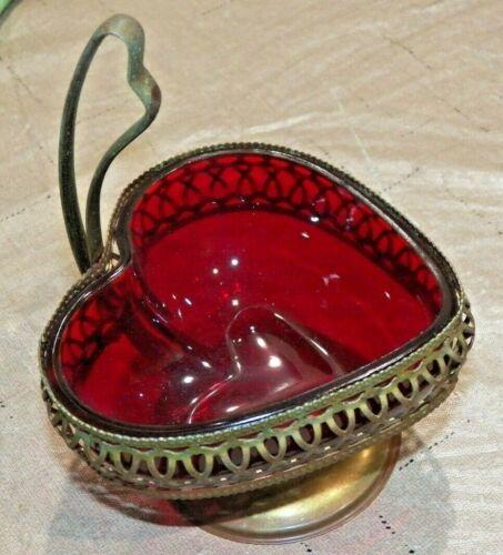 Vintage Ruby Red Glass w Metal Filigree Holder Heart Shape Dish