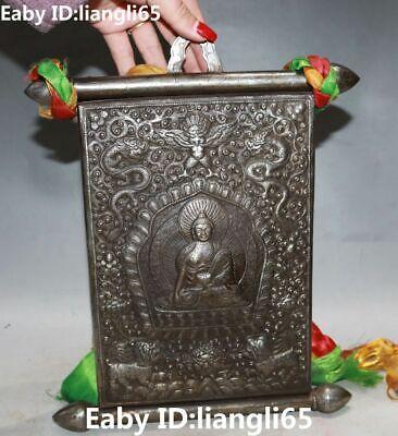 Old Pure Silver Dragon Lion Beast Sakyamuni Tathagata Buddha Screen byobu Statue