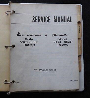 Simplicity Allis Chalmers 5020 5030 9523 9528 Tractor Service Repair Manual Nice