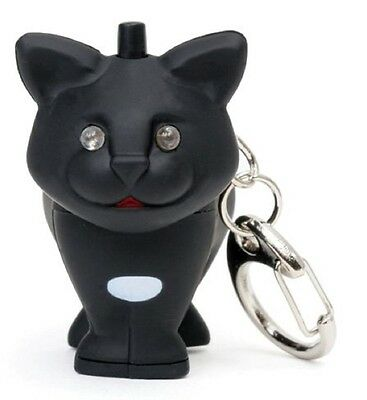 Black CAT Key Chain with Super Bright  Blue LED light & Meowing Sound! ()