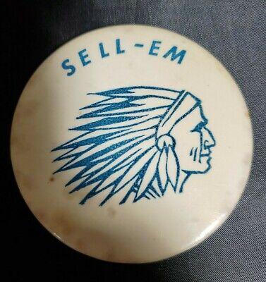 Vintage Indian Motorcycle ? Salesman ? Celluloid Pin  Sell - Em Indian pinback