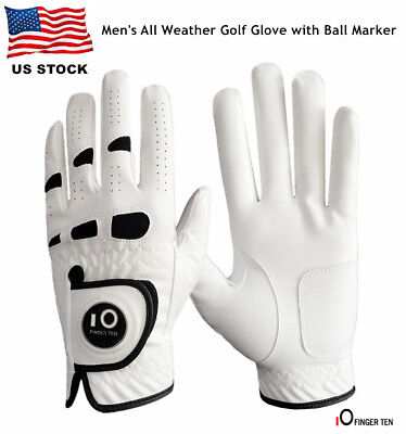 Golf Gloves Left Hand Ball Marker Mens Weathersof Leather Soft Fit Large XL ML - Large Left Hand Golf Glove