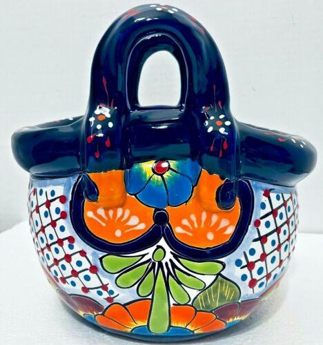 Talavera Planter Basket Pot Mexican Pottery Folk Art