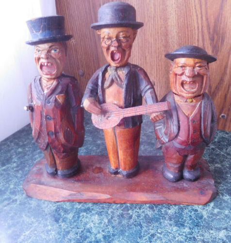 Vintage Anri Men Singing Trio Bar Set. Corkscrew, Can opener Cork Stopper~FREESH