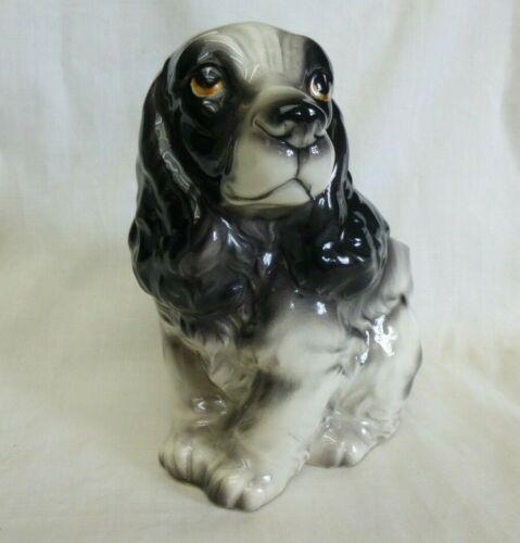 Spaniel Type Dog Planter Porcelain Numbered Black/White Vintage Excellent Cond.