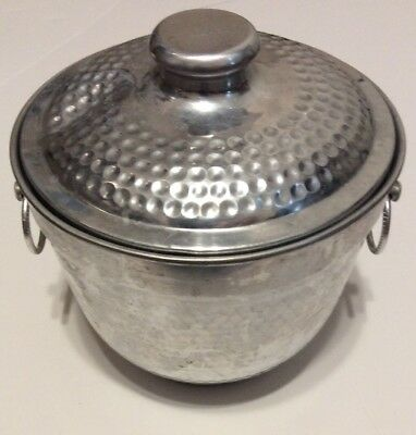 Hammered Aluminum Ice Bucket, Made in Italy, Vintage,mid (Hammered Aluminum Ice Bucket Made In Italy)