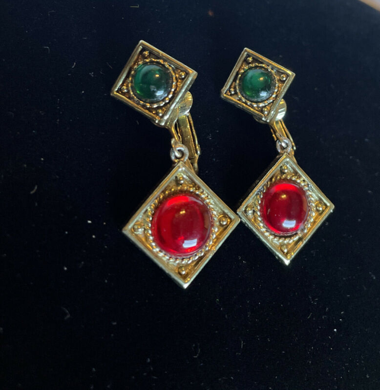 """Vin. Gold Tone 3"""" Clipped Earrings With Green & Red Stones!!!"""